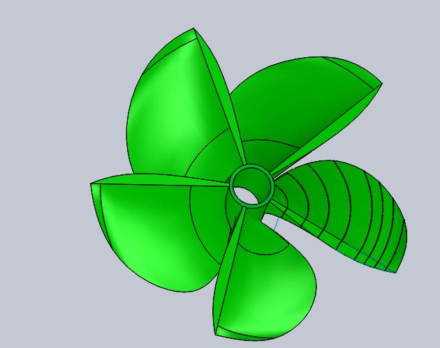 5 bladed Levi Diamond Back surface drive propeller